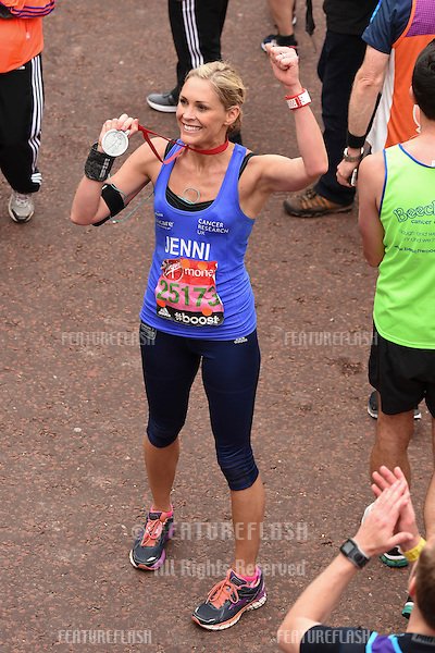 Jenni Falconer finishes the 2015 London Marathon, The Mall, London 26/04/2015 Picture by: Steve Vas / Featureflash