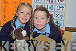 PLAYING: Keira and Megan Large twins playing with their toys on their first day at Knockanure NS on Thursday.... ....