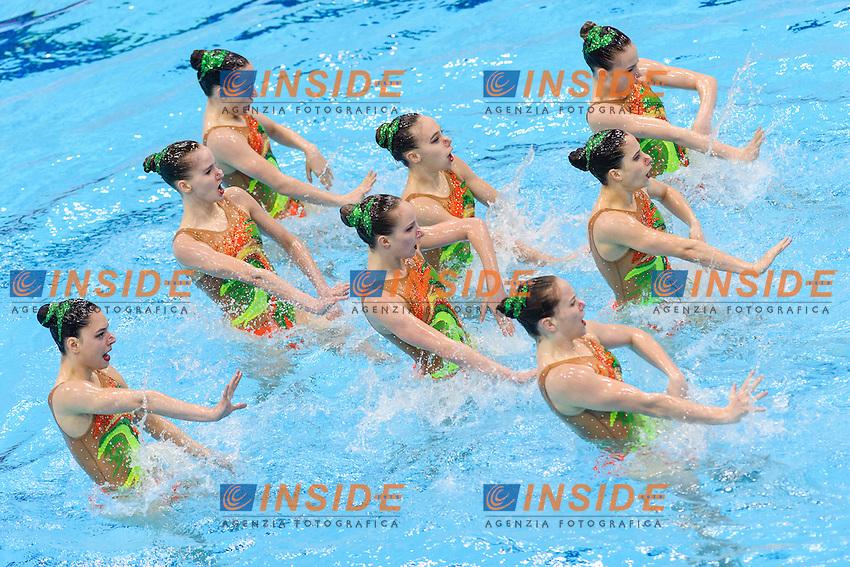 SWITZERLAND SUI <br /> BELLINA Maxence PIFFARETTI Maria KOCH Vivienne NYDEGGER Michelle PESCHL Joelle PESCHL Noemi WEIBEL Sarina FLURI Christine <br /> Team Free Preliminary  <br /> London, Queen Elizabeth II Olympic Park Pool <br /> LEN 2016 European Aquatics Elite Championships <br /> Synchronized Swimming <br /> Day 03 10-05-2016<br /> Photo Andrea Staccioli/Deepbluemedia/Insidefoto