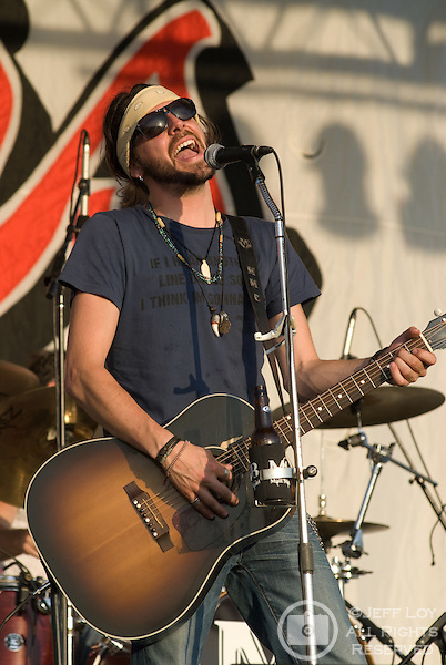 Micky Braun, lead singer of the Austin, Texas based band Micky and the Motorcars, performs during Mayfest at LaGrave Field in Fort Worth, Texas on July 12, 2009. ..The July concert was a makeup event after the original festival was canceled amid fears concerning the H1N1 (swine) influenza (Swine flu) outbreak.