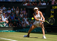 Johanna Konta (6) of Great Britain in action during her victory over Donna Vekic of Croatia in their Ladies' Singles Second Round Match today - Konta def Vekic 7-6, 4-6, 10-8<br /> <br /> Photographer Ashley Western/CameraSport<br /> <br /> Wimbledon Lawn Tennis Championships - Day 3 - Wednesday 5th July 2017 -  All England Lawn Tennis and Croquet Club - Wimbledon - London - England<br /> <br /> World Copyright &not;&copy; 2017 CameraSport. All rights reserved. 43 Linden Ave. Countesthorpe. Leicester. England. LE8 5PG - Tel: +44 (0) 116 277 4147 - admin@camerasport.com - www.camerasport.com