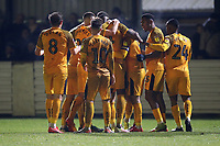 Padraig Amond of Newport County scores the first goal for his team and celebrates with his team mates during Maldon & Tiptree vs Newport County, Emirates FA Cup Football at the Wallace Binder Ground on 29th November 2019