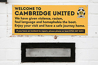 Welcome to Cambridge United sign during Cambridge United vs Sutton United , Emirates FA Cup Football at the Cambs Glass Stadium on 5th November 2017