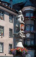 Brunnen vor St.Martin, Chur, Schweiz.