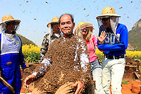 Recouvert d'abeilles, Monsieur Yang Chuan essaye de sourire à la foule assemblée pendant que les présentateurs de CCTV4 continuent le programme avec beaucoup de courage.///Covered in bees, Mister Yang Chuan tries to smile to the gathered crowd while the anchormen from CCTV4 continue the program with a lot of courage.