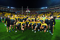 The Hurricanes pose for a team photo after the Super Rugby match between the Hurricanes and Crusaders at Westpac Stadium in Wellington, New Zealand on Saturday, 15 July 2017. Photo: Dave Lintott / lintottphoto.co.nz