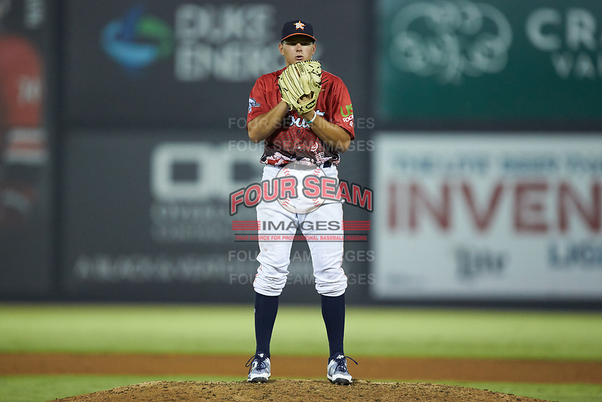 South Division pitcher Brandon Bielak (13) of the Buies Creek Astros looks to his catcher for the sign during the 2018 Carolina League All-Star Classic at Five County Stadium on June 19, 2018 in Zebulon, North Carolina. The South All-Stars defeated the North All-Stars 7-6.  (Brian Westerholt/Four Seam Images)