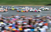Oct 5, 2008; Talladega, AL, USA; NASCAR Sprint Cup Series driver Dale Earnhardt Jr (88) leads Travis Kvapil (28), Jeff Gordon (24) and David Ragan (6) during the Amp Energy 500 at the Talladega Superspeedway. Mandatory Credit: Mark J. Rebilas-