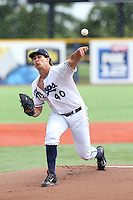 Jared Miller (40) of the Hillsboro Hops pitches during a game against the Salem-Keizer Volcanoes at Ron Tonkin Field on July 26, 2015 in Hillsboro, Oregon. Hillsboro defeated Salem-Keizer, 4-3. (Larry Goren/Four Seam Images)