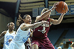 31 January 2013: Florida State's Alexa Deluzio (3) and North Carolina's Krista Gross (21). The University of North Carolina Tar Heels played the Florida State University Seminoles at Carmichael Arena in Chapel Hill, North Carolina in an NCAA Division I Women's Basketball game. UNC won the game 72-62.