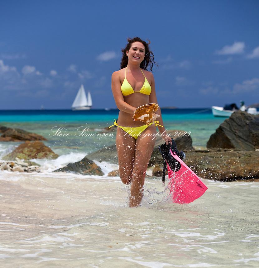 Snorkeler Natalie at Mingo  Cay.U.S. Virgin Islands
