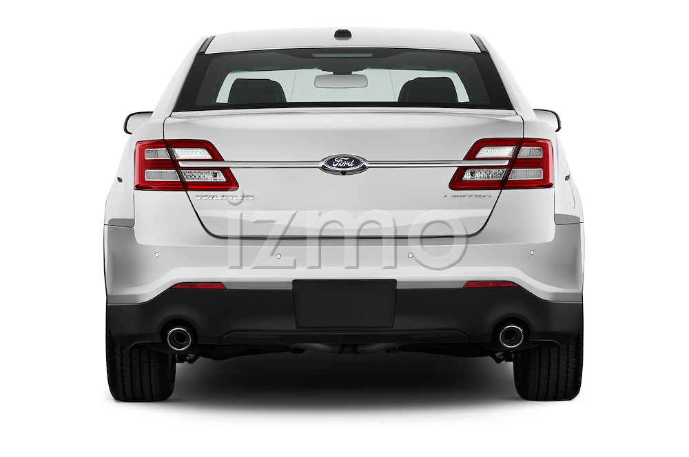Straight rear view of a 2013 Ford Taurus LTD