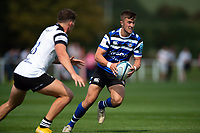 Tom de Glanville of Bath United looks to pass the ball. Premiership Rugby Shield match, between Bristol Bears A and Bath United on August 31, 2018 at the Cribbs Causeway Ground in Bristol, England. Photo by: Patrick Khachfe / Onside Images