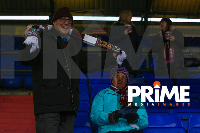 Northampton Town fans enjoy the pre-match atmosphere ahead of the Sky Bet League 1 match between Oldham Athletic and Northampton Town at Boundary Park, Oldham, England on 9 December 2017. Photo by Juel Miah / PRiME Media Images.