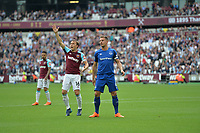 Mark Noble of West Ham and Phil Jagielka Of Everton during West Ham United vs Everton, Premier League Football at The London Stadium on 13th May 2018