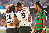 Sam Lisone of the NZ Warriors scores a try, Rabbitohs v Vodafone Warriors, NRL rugby league premiership. Optus Stadium, Perth, Western Australia. 10 March 2018. Copyright Image: Daniel Carson / www.photosport.nz