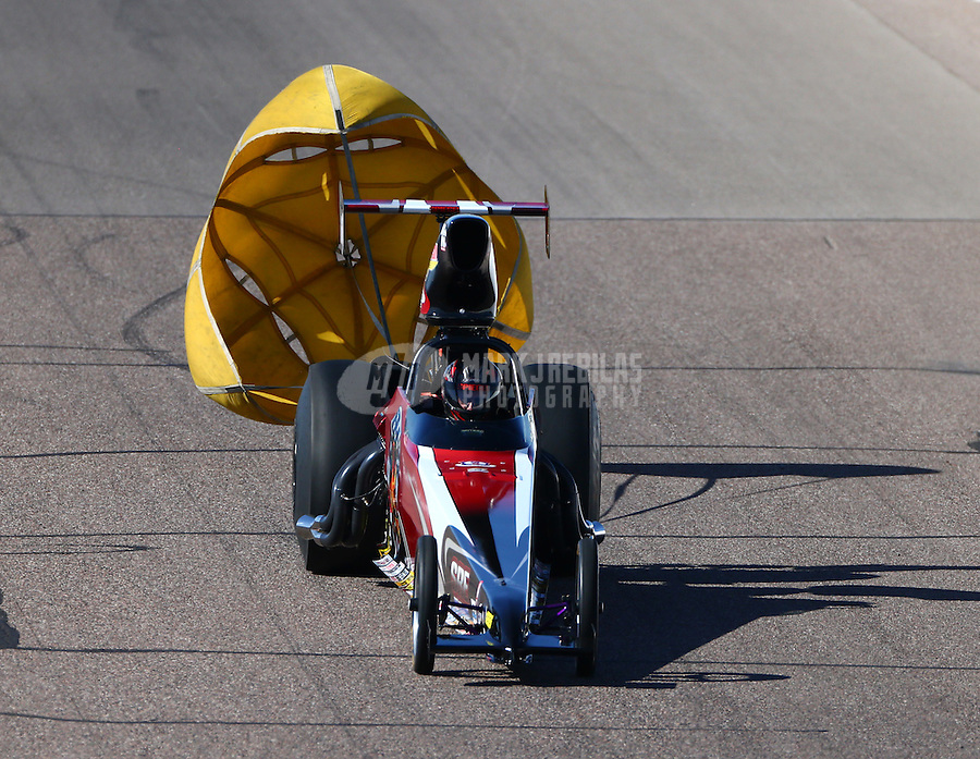Feb 26, 2016; Chandler, AZ, USA; NHRA top dragster driver Andy Spiegel during qualifying for the Carquest Nationals at Wild Horse Pass Motorsports Park. Mandatory Credit: Mark J. Rebilas-