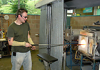 A glass blowing demonstration at the National Glass Centre in Sunderland, Great Britain