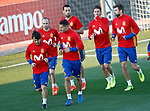 Spain's David Jimenez Silva, Andres Iniesta, Vitolo, Sergio Busquets, Sergio Ramos and Gerard Pique during training session. March 20,2017.(ALTERPHOTOS/Acero)