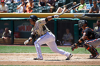 Luis Martinez (20) of the Salt Lake Bees at bat against the Fresno Grizzlies at Smith's Ballpark on May 26, 2014 in Salt Lake City, Utah.  (Stephen Smith/Four Seam Images)