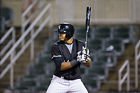 Antonio Rodriguez (14) of the Kannapolis Intimidators at bat against the Hickory Crawdads at Kannapolis Intimidators Stadium on April 22, 2017 in Kannapolis, North Carolina.  The Intimidators defeated the Crawdads 10-9 in 12 innings.  (Brian Westerholt/Four Seam Images)