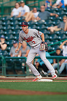 Peoria Chiefs first baseman Brady Whalen (7) during a Midwest League game against the Fort Wayne TinCaps on July 17, 2019 at Parkview Field in Fort Wayne, Indiana.  Fort Wayne defeated Peoria 6-2.  (Mike Janes/Four Seam Images)