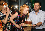 """Kate MacCluggage, Charlotte Wise and Jason O'Connell attends the Birthday Party Photo Call for the Wheelhouse Theater Company production of Kurt Vonnegut's """"Happy Birthday, Wanda June""""  on October 3, 2018 at Bond 45 Times Square in New York City."""