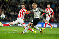 31st January 2020; Pride Park, Derby, East Midlands; English Championship Football, Derby County versus Stoke City; Martyn Waghorn of Derby County takes a shot at goal past Liam Lindsay of Stoke City