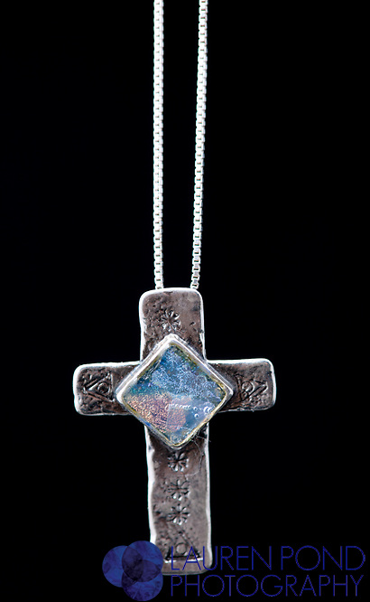 roman glass cross necklace