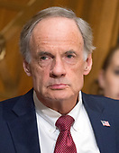 United States Senator Tom Carper (Democrat of Delaware) listens as David J. Kautter, Acting Commissioner, Internal Revenue Service (IRS) and Assistant US Secretary of the Treasury for Tax Policy testifies before the US Senate Committee on Finance on the President's Fiscal Year 2019 budget on Capitol Hill in Washington, DC on Wednesday, February 14, 2018.<br /> Credit: Ron Sachs / CNP