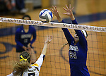 Marymount's Emileigh Rettig blocks against St. Mary's during a college volleyball game in Lexington Park, MD, on Wednesday, Oct. 29, 2014. Marymount won 3-2 to go 24-9 on the season.<br /> Photo by Cathleen Allison