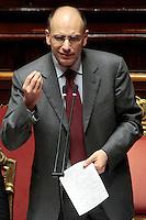 Enrico Letta.Roma 21/05/2013 Senato. Il Premier riferisce al Senato sul consiglio UE..Italian Premier's speech at the Senate about UE..Photo Samantha Zucchi Insidefoto