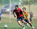 Claudio Reyna (center) is chased by Michael Bradley (r) on Sunday, May 14th, 2006 at SAS Soccer Park in Cary, North Carolina. The United States Men's National Soccer Team held a training session as part of their preparations for the upcoming 2006 FIFA World Cup Finals being held in Germany.