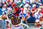 14 April 2018: Washington Nationals catcher Matt Wieters in action against the Colorado Rockies at Nationals Park in Washington, DC. The Nationals rallied to defeat the Rockies 6-2 in the 3rd game of their 4-game series. Mandatory Credit: Ed Wolfstein Photo *** RAW (NEF) Image File Available ***