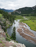 Henson Creek feeding into Lake San Cristobal near Lake City, Colorado, Tuesday, July 7, 2015. Lake City is located in the San Juan Mountains in a valley formed by the convergence of Henson Creek and the headwaters of the Lake Fork of the Gunnison River about seven miles east of Uncompahgre Peak, a Colorado fourteener. Lake San Cristobal is the second largest natural lake.<br /> <br /> Photo by Matt Nager