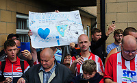 A Lincoln City and a Sheffield Wednesday fan holds up a banner saying 'Steve Bruce we love you'<br /> <br /> Photographer Chris Vaughan/CameraSport<br /> <br /> Football Pre-Season Friendly - Lincoln City v Sheffield Wednesday - Saturday July 13th 2019 - Sincil Bank - Lincoln<br /> <br /> World Copyright © 2019 CameraSport. All rights reserved. 43 Linden Ave. Countesthorpe. Leicester. England. LE8 5PG - Tel: +44 (0) 116 277 4147 - admin@camerasport.com - www.camerasport.com