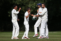 Wanstead players celebrate taking the wicket of Eddie Ballard during Brentwood CC vs Wanstead and Snaresbrook CC, Essex Cricket League Cricket at The Old County Ground on 12th September 2020