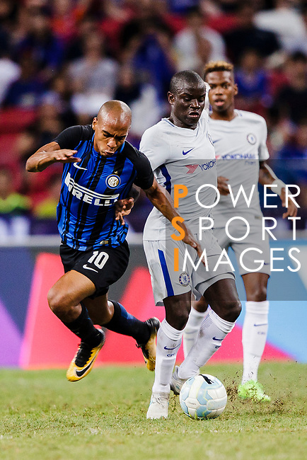 FC Internazionale Midfielder Joao Mario (L) trips up with Chelsea Midfielder N'Golo Kante (R) during the International Champions Cup 2017 match between FC Internazionale and Chelsea FC on July 29, 2017 in Singapore. Photo by Marcio Rodrigo Machado / Power Sport Images