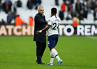 23rd November 2019; London Stadium, London, England; English Premier League Football, West Ham United versus Tottenham Hotspur; Tottenham Hotspur Manager Jose Mourinho congratulates Serge Aurier of Tottenham Hotspur after full time - Strictly Editorial Use Only. No use with unauthorized audio, video, data, fixture lists, club/league logos or 'live' services. Online in-match use limited to 120 images, no video emulation. No use in betting, games or single club/league/player publications