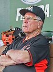 10 March 2015: Former Miami Marlins Manager Jack McKeon watches Spring Training action against the Washington Nationals at Roger Dean Stadium in Jupiter, Florida. The Marlins edged out the Nationals 2-1 on a walk-off solo home run in the 9th inning of Grapefruit League play. Mandatory Credit: Ed Wolfstein Photo *** RAW (NEF) Image File Available ***