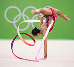 Kaho Minagawa (JPN), AUGUST 19, 2016 - Rhythmic Gymnastics : Kaho Minagawa of Japan performs with ribbon in the Individual All-Around Qualification during the Rio 2016 Olympic Games at Rio Olympic Arena in Rio de Janeiro, Brazil. (Photo by Enrico Calderoni/AFLO SPORT)