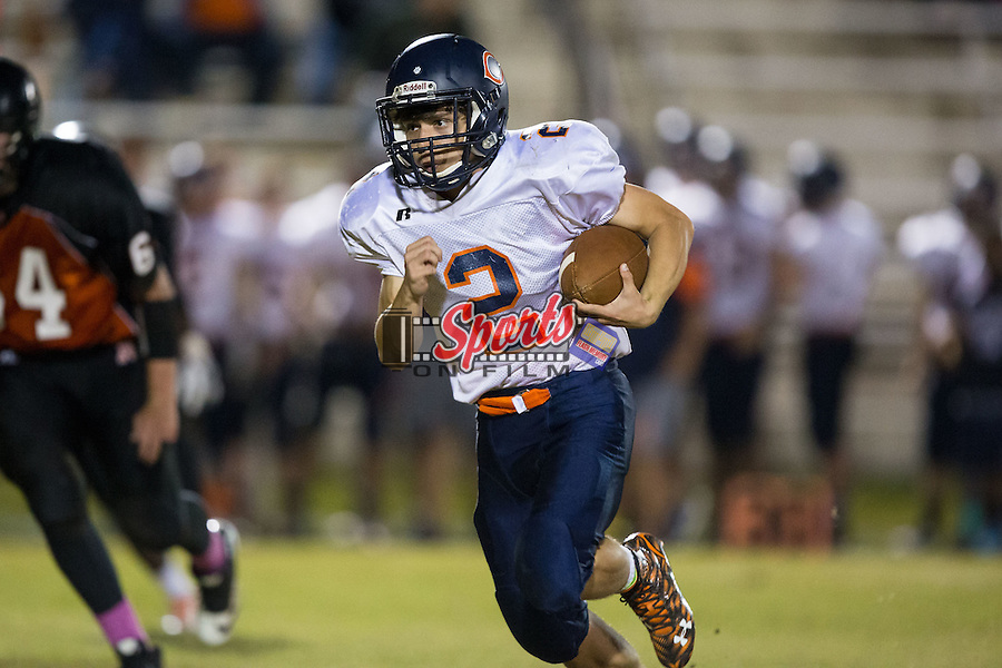 Carson Cougars quarterback Cole Sifford (2) runs with the football during second half action against the Northwest Cabarrus Trojans at Trojan Stadium October 22, 2015, in Concord, North Carolina.  The Cougars defeated the Trojans 21-20.  (Brian Westerholt/Sports On Film)