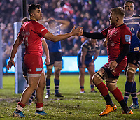 Saracens' Sean Maitland celebrates scoring his sides first try with Saracens' Jackson Wray<br /> <br /> Photographer Bob Bradford/CameraSport<br /> <br /> Gallagher Premiership - Bath Rugby v Saracens - Friday 29th November 2019 - The Recreation Ground - Bath<br /> <br /> World Copyright © 2019 CameraSport. All rights reserved. 43 Linden Ave. Countesthorpe. Leicester. England. LE8 5PG - Tel: +44 (0) 116 277 4147 - admin@camerasport.com - www.camerasport.com