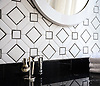 Almerita, a handmade mosaic shown in Venetian honed Thassos and polished Saint Laurent, is part of the Parterre Collection by Paul Schatz for New Ravenna.