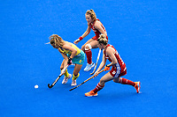2nd February 2020; Sydney Olympic Park, Sydney, New South Wales, Australia; Womens International FIH Field Hockey, Australia versus Great Britain Women; Ambrosia Malone of Australia dribbles past Susannah Townsend of Great Britain