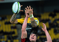 Vaea Fifita and Scott Barrett compete for lineout ball during the Super Rugby match between the Hurricanes and Crusaders at Westpac Stadium in Wellington, New Zealand on Saturday, 15 July 2017. Photo: Dave Lintott / lintottphoto.co.nz
