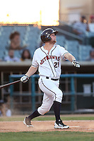 Bobby Borchering #20 of the Lancaster JetHawks bats against the Bakersfield Blaze at The Hanger on May 13, 2014 in Lancaster California. Lancaster defeated Bakersfield, 1-0. (Larry Goren/Four Seam Images)
