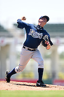 GCL Rays starting pitcher Cameron Varga (23) delivers a pitch during a game against the GCL Red Sox on June 25, 2014 at JetBlue Park at Fenway South in Fort Myers, Florida.  GCL Red Sox defeated the GCL Rays 7-0.  (Mike Janes/Four Seam Images)