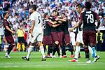A.C. Milan celebrating a goal during Santiago Bernabeu Trophy match at Santiago Bernabeu Stadium in Madrid, Spain. August 11, 2018. (ALTERPHOTOS/Borja B.Hojas)