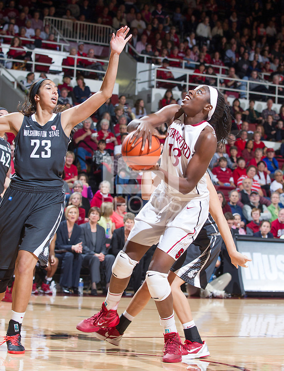 Stanford's Chiney Ogwumike, attempts to make a basket during Stanford women's basketball  vs Washington State at Maples Pavilion, Stanford, California on March 1, 2014.